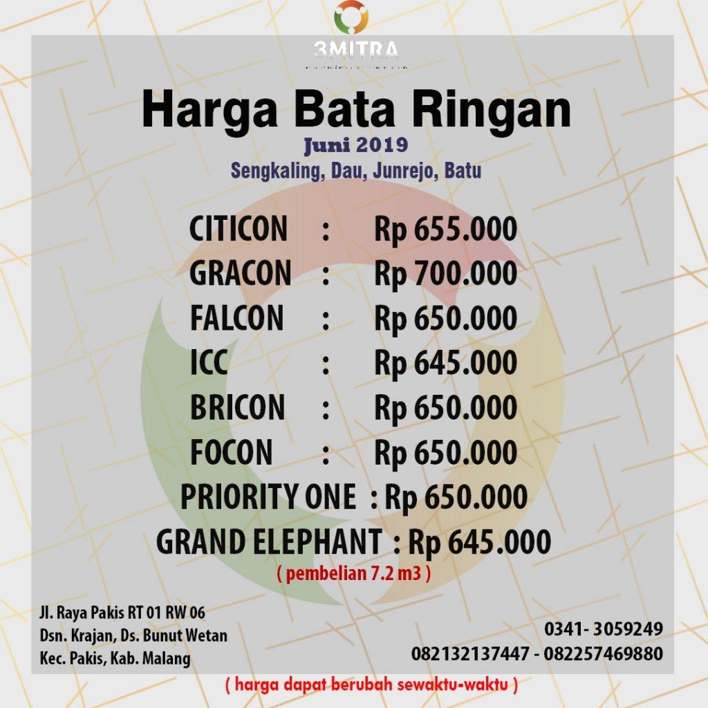 PT. TIGA MITRA SURABAYA - CAB. MALANG HARGA BATA RINGAN JUNI 2019